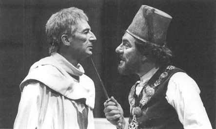 John Carlisle as Machiavel andAlun Armstrong as Barabas in a scene from Christopher Marlowes play The Jew of Malta