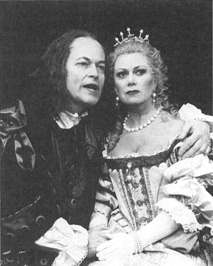 Michael Pennington and Elaine Page in a scene from the 1998 production of The Misanthrope at the Piccadilly Theatre in London, England