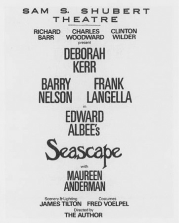 Playbill cast list from the theatrical production of Edward Albees Seascape, performed at the Sam S. Shubert Theatre in New York City