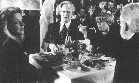 Stockard Channing as Ouisa Kittredge and Donald Sutherland (far right) as Flan Kittredge in a scene from the 1993 film adaptation of Six Degrees of Separation