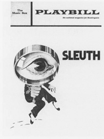 A 1971 playbill cover from the theatrical production of Sleuth at the Music Box in New York City