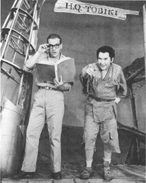 Scott McKay and Burgess Meredith in a scene from the play The Teahouse of the August Moon