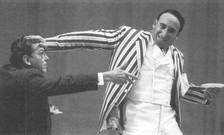 David Westhead as Tristan Tzar a and Antony Sher as Henry Carr in a scene from a theatrical production of Travesties