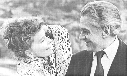 A scene from the 1973 film adaptation of A Delicate Balance, starring Katharine Hepburn and Paul Scofield