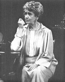 Peggy Ashcroft, as Fanny Farrelly, in a scene from the 1980 theatrical production of Watch on the Rhine, performed at the National Theatre in London