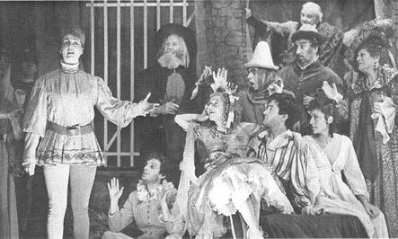 A scene from the 1980 theatrical production of The Life and Adventures of Nicholas Nickleby, written by Charles Dickens and adapted by David Edgar