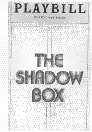 Playbill cover from the 1977 theatrical production of The Shadow Box, performed at the Lunt-Fontanne Theatre