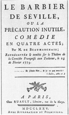 Frontispiece for the 1775 edition of Le Barbier de Seville, written by Pierre-Augustin de Beaumarchais