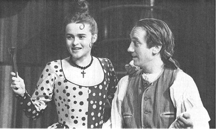 Helena Bonham Carter, as Rosine, and Lee Comes, as Figaro, in a scene from the 1992 theatrical production of The Barber of Seville