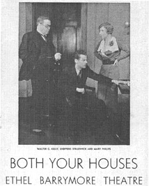 Playbill cover from the 1933 theatrical production of Both Your Houses, directed by Worthington Miner