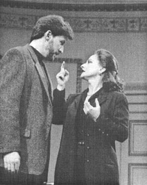 Patti LuPone, as Maria Callas, and David Maxwell Anderson, as Tony, in a scene from the 1997 production of Master Class, performed at Queens Theatre in London