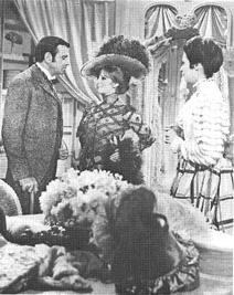 Walter Matthau, Barbara Streisand (as Dolly), and Marianne McAndrew in a scene from the 1969 film adaptation Hello, Dolly!