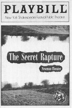 Playbill cover from the 1989 theatrical production of The Secret Rapture, written and directed by David Hare
