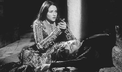 Olivia Hussey and Leonard Whiting in a 1968 film version of Romeo and Juliet