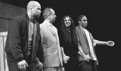 Jeffrey Wright, director George C. Wolfe, Suzan-Lori Parks, and Mos Def during curtain call at the opening night of TopdogUnderdog at the Ambassador Theater in New York City, April 7, 2002 Getty Images