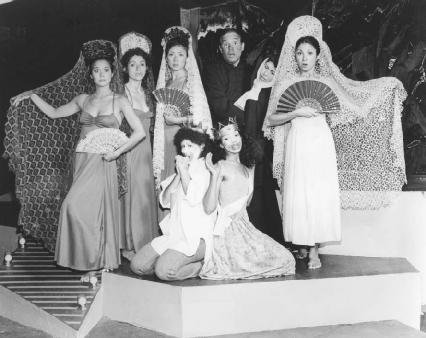 Tanya Sandolval Russell, Yomi, Ingrid Wang, James Victor, Lorraine Barkley, Roseanna Campos, Gabrielle Gazon, and Frieda Woody in a 1979 production of Beautiful Seoritas
