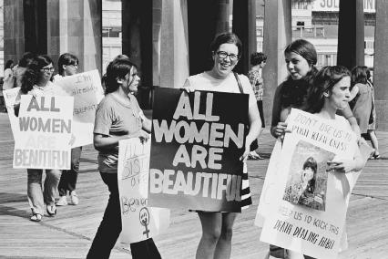Womens Liberation Movement demonstrators protest against the Miss America Pageant in Atlantic City, 1969