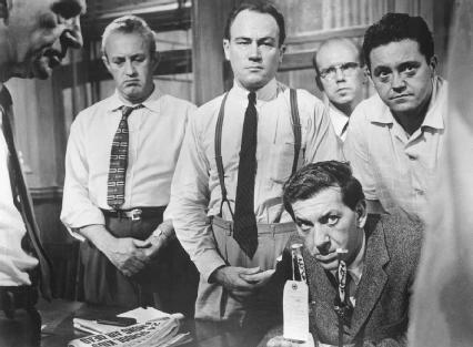 Lee J. Cobb, E. G. Marshall, Jack Klugman, John Fiedler, and Edward Binns in the 1957 film version of Twelve Angry Men