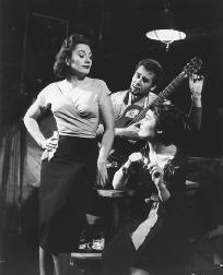 Lola Muethel, Hannes Riesenberger, and Johanna Wichmann in the 1958 theatrical premier of Orpheus Descending in Frankfurt, Germany