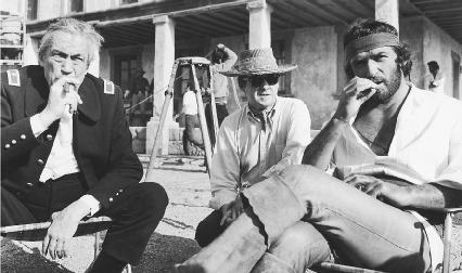 John Huston and Richard Crenna on the set of the 1971 film adaptation of The Deserter, directed by Nikola Fulgosi and Burt Kennedy