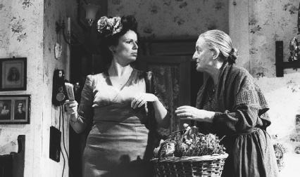 Julie Waters and Matyelok Gibbs in a 1991 theatrical production of The Rose Tattoo