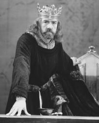 Robert Lindsay, as Henry II, in the 1991 stage production of Becket, performed at the Royal Haymarket Theatre in London, England
