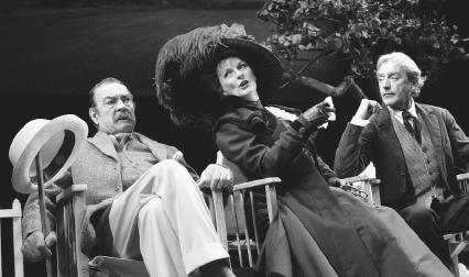 Richard Johnson, as Sir George Crofts, Brenda Blethyn, as Mrs. Warren, and Peter Blythe as Mr. Praed, in a 2002 stage production of Mrs. Warrens Profession, performed at the Strand Theatre in London