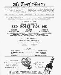 Playbill cast list from the 1956 stage production of Red Roses for Me, performed at The Boothe Theatre