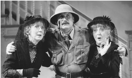 Thelma Barlow, Rupert Vansittart, and Marcia Warren in the 2003 stage production of Arsenic and Old Lace performed at the Strand Theatre in London