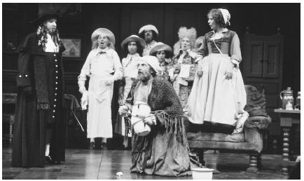A scene from the 1981 stage production of The Hypochondriac, a translated version of the The Imaginary Invalid, performed at the Olivier Theatre in London