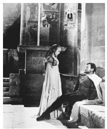Orson Welles as Othello and Suzanne Cloutier as Desdemona in a scene from the 1952 film adaptation of Othello