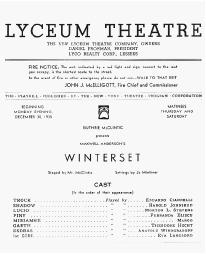 Playbill cast list from Winterset performed at the Lyceum Theatre in 1935