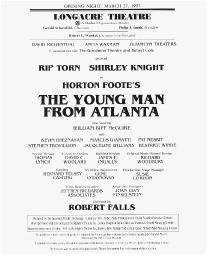 Playbill cast list from The Young Man from Atlanta performed at the Longacre Theatre in 1997