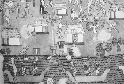 Painting depicting scenes of daily life in a Maya village. The Art Archive/Antochiw Collection Mexico/Mireille Vautier.