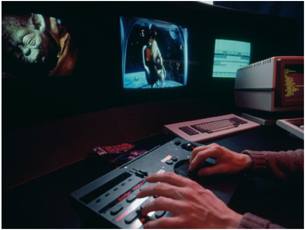 The sound mixing desk is where the various tracks of human dialogue, sound effects, and music are combined to create an original to transfer to the film negative.