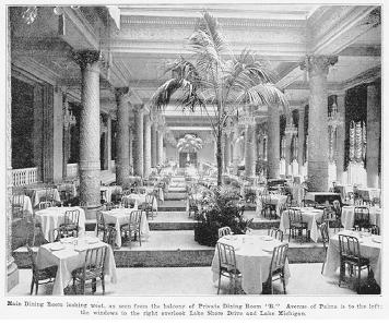 The main dining room of the Drake Hotel on Lake Shore Drive, Chicago in 1928. During its heyday, the Drake and its famous menus represented the ultimate in fine dining in the Midwest. ROUGHWOOD COLLECTION.