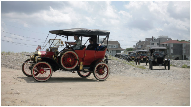 The Model T, manufactured from 1908 to 1927, was an immense success for Ford Motor Company. In this photo a group of Model T collectors gather together in 2012.