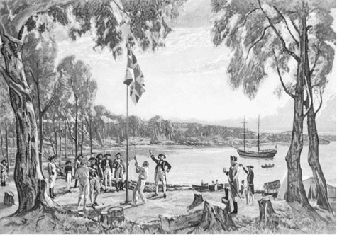 The Founding of Australia. In January 1788 Captain Arthur Phillip established an English settlement at Sydney Cove on the southeast coast of Australia. In this illustration based on a 1937 painting by Algernon Talmadge, Phillip and his crew hoist a flag on the site, an event that is considered the beginning of European settlement in Australia.