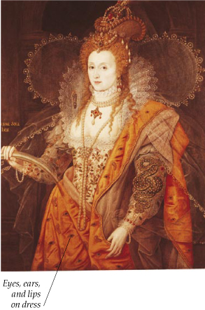 ELIZABETHAN INTRIGUES - This portrait of Queen Elizabeth I of England contains a symbol of the activities of her secret service  the eyes, ears, and lips that decorate her dress.