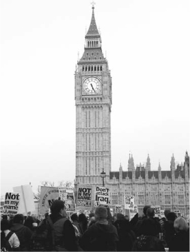 Antiwar protesters gather outside the British Parliament in London in 2003 to voice their concern about the Iraq War.