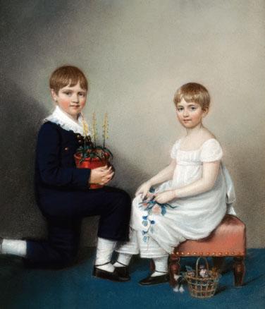 Charles Darwin and his sister, Catherine (c. 1816).