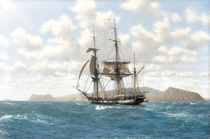 An illustration of the HMS Beagle in the Galpagos Islands. Trustees of John Chancellor.