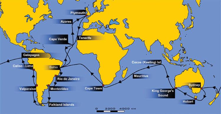 Route of HMS Beagle 18311836. Public domain.