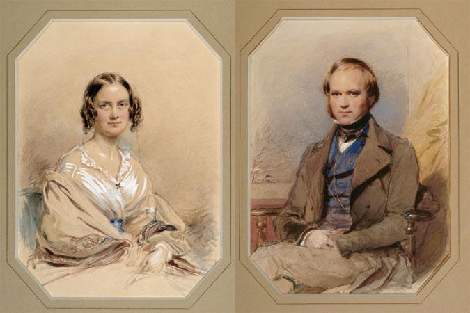 Emma and Charles Darwins wedding portraits, 1840.