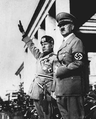 DICTATORS BENITO MUSSOLINI AND ADOLF HITLER IN MUNICH, GERMANY, IN 1937. Although Mussolini and Hitlers regimes are considered to contain many aspects of totalitarianism, there is doubt that any such system has ever been completely instituted.