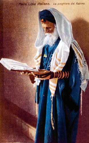 A Libyan rabbi. Italian postcard, 1912