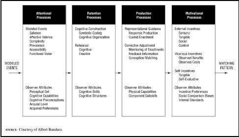 Figure 1The four major subfunctions governing observational learning and the influential factors operating within each subfunction.