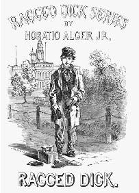 Title page book illustration for Ragged Dick, written by Horatio Alger, Jr