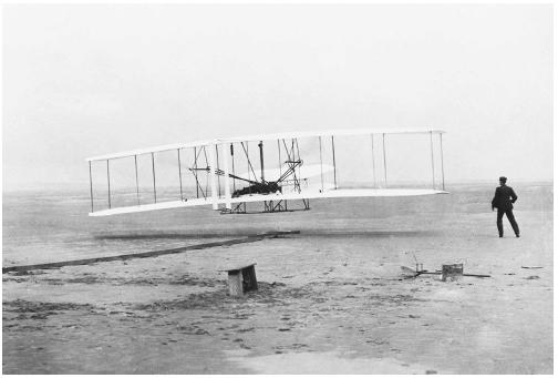First flight of the Wright Flyer, December 17, 1903. (Library of Congress)