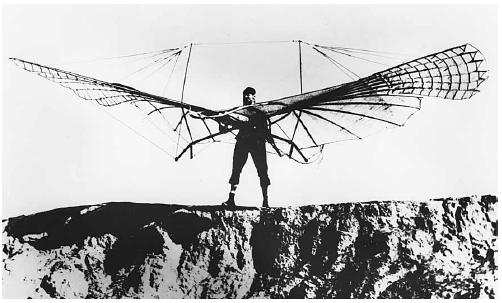 Otto Lilienthal, with his collapsible glider, near Rathenow, East Germany. (Corbis-Bettmann)